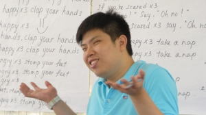 Gee Keat teaching the class emotions.